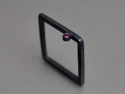 Oxidation of simple geometric black ruby ​​engagement ring golden square box Modern Square compact design simple and elegant creative birthday gift R054 | Greek original handmade jewelry This and That