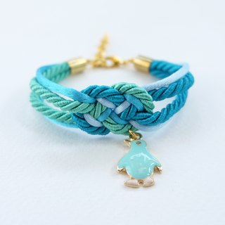 Ocean blue/Mint infinity knot rope bracelet with penguin charm