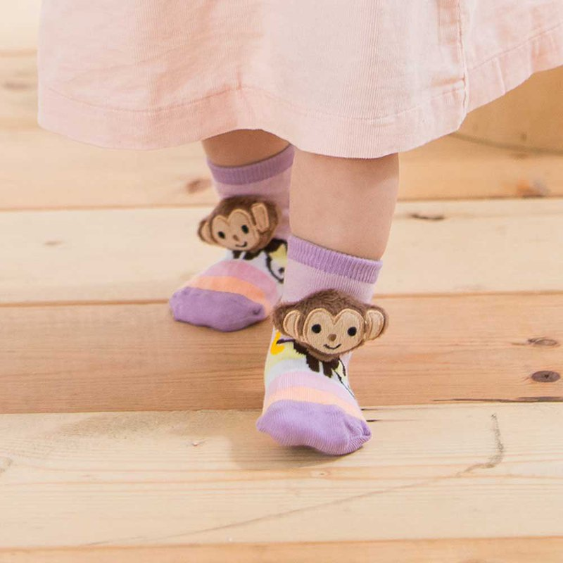 Hand-stitched doll gift box baby socks - naughty monkey Mi Yueli safety slip socks wide-mouth socks