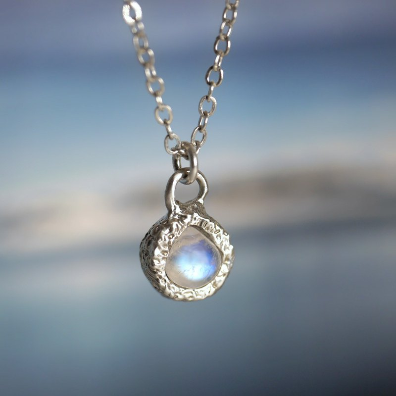 Moonlight Teardrop - Moonstone Sterling Silver Clavicle Chain