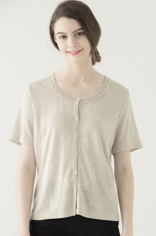 [KIINO] beautiful delicate wrought with round neck sweater --1851-1192 ash meters