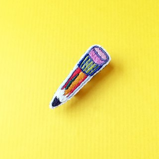 Mini hand-embroidered brooch / pin color pencil