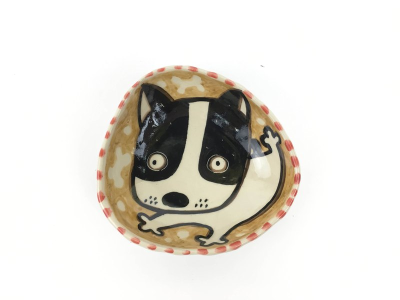 Nice Little Clay hand-painted small plate _ cute dog 120316