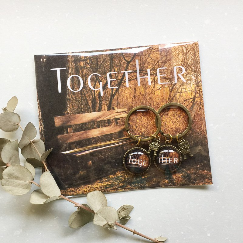 Photo mosaic key ring pair - TOGETHER / vacancy / back hand hook pattern