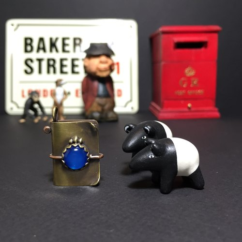 Traveler's Notebook / TN mini brass inlaid blue agate stone pendant