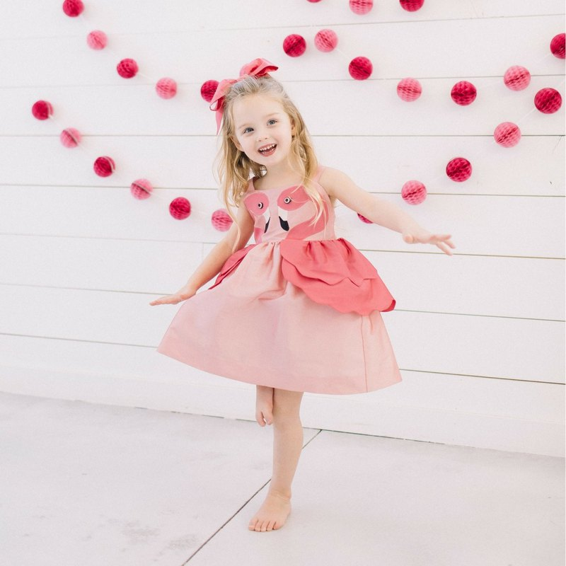 Girls Pink Flamingo Dress