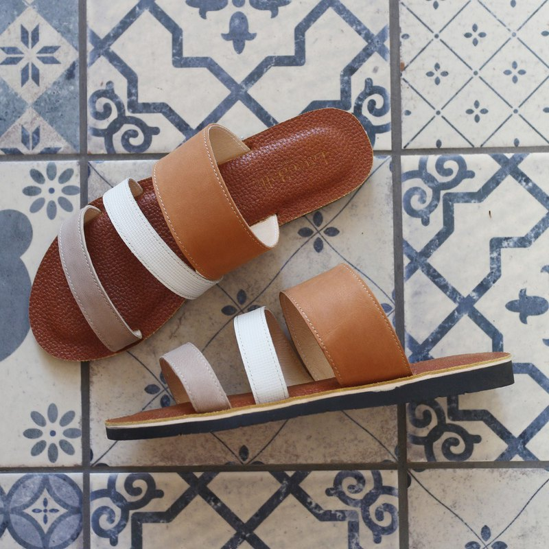 [Cool Summer Cream Cream] Tricolor Sheepskin Sandals and Slippers - Gray Brown