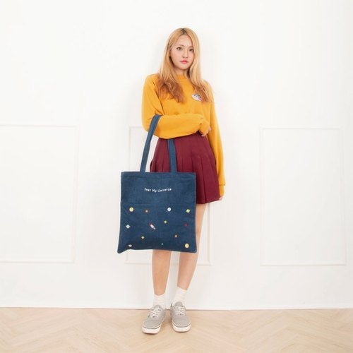 Dear My Universe corduroy double pocket universe bags - Navy