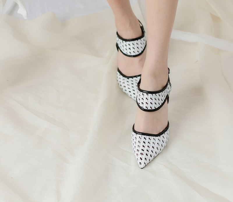 Leather woven hollow high-heeled leather sandals white