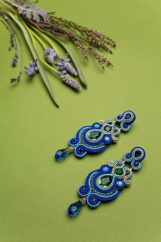 Long drop earrings with Swarovski stones in blue green color