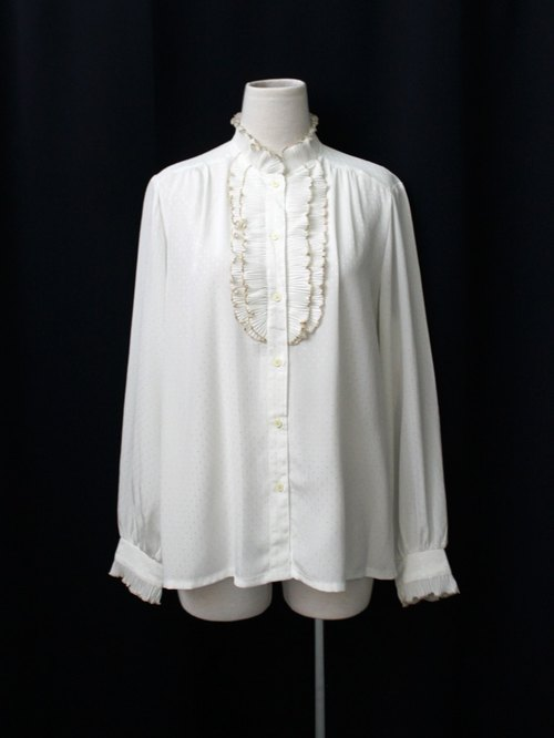 [RE0407T1955] Nippon vintage French elegant gold trim white collar vintage shirt