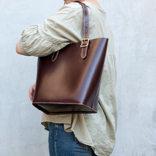 Be Two ∣ leather deep coffee tote bag / handle adjustable length / leather hand / shoulder / leather thick bottom
