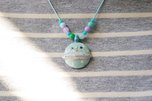 Lake Blue Green Planet blisters ceramic necklace [limited goods]