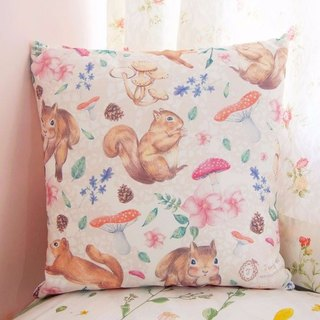 Forest squirrel Series / Standard Size / pillow cute little squirrel forest mushrooms