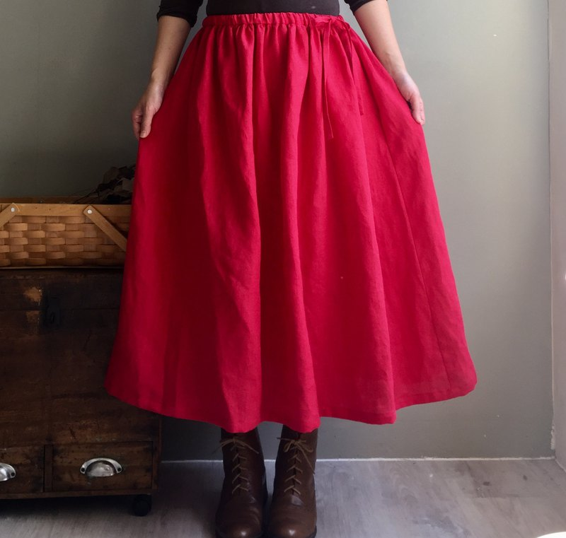 Hibiscus flower path / carmine red linen side drawstring round skirt 100% hemp