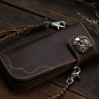 Biker long Wallet chain brass Genuine Leather Brown Hanuman Ramayana Monster man