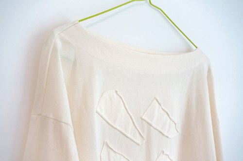 Organic cotton number 1 - collar off shoulder long-sleeved t-shirt
