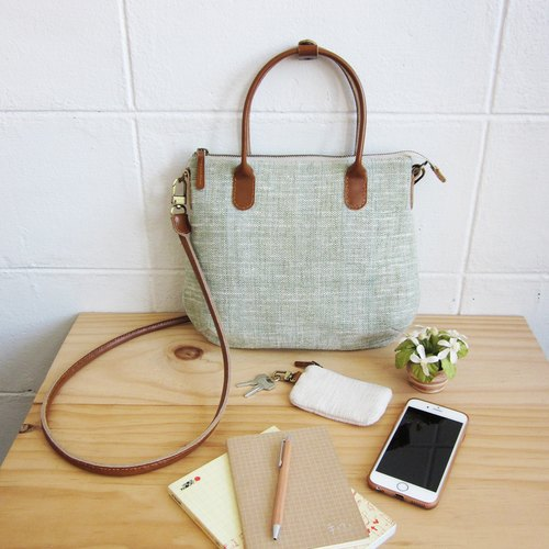 Crossbody Midi Curve Bags Hand Woven and Botanical dyed Cotton Green Color 斜背包