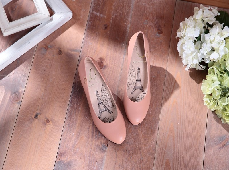 Dora-elegant nude powder - plain round leather high heels (not sold out)