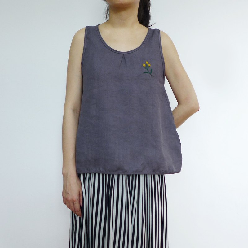 Grey purple flower vest