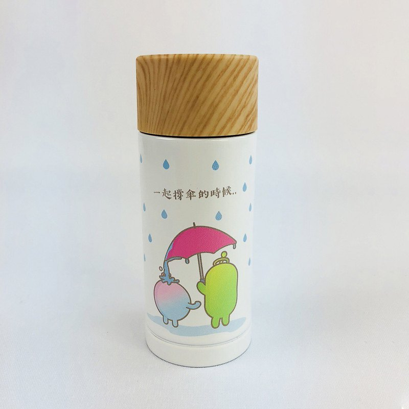 New Designer Series - No Personality Star Roo- wood cover thermos (white)