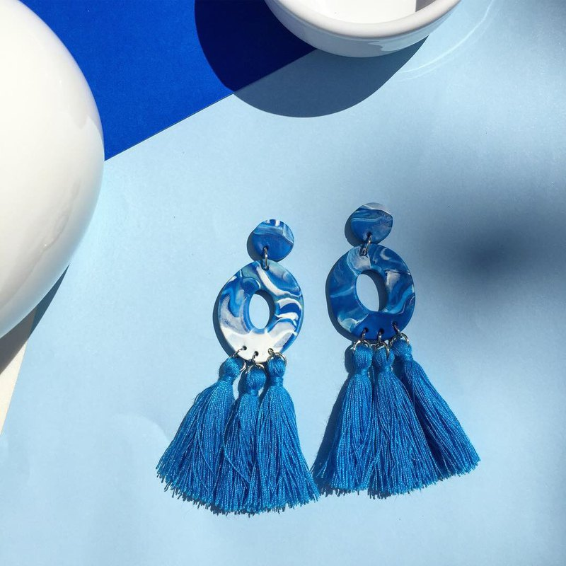 polymer clay earrings Blue marble with tassel (Limited 10 pairs)
