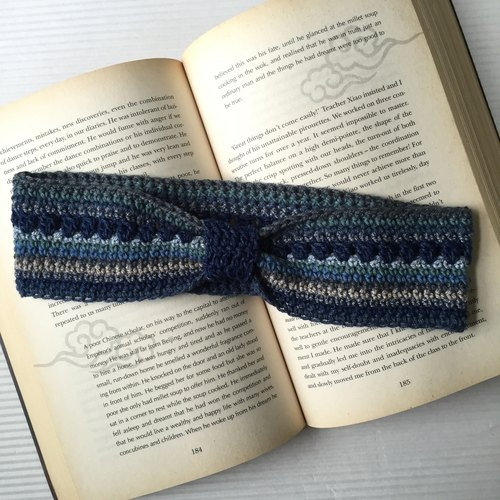 Last call limited edition  |  Hand crochet headband  |  Denim blue mix  |  100%cotton
