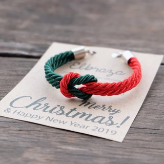 Red / Dark green knot rope bracelet  - Christmas bracelet