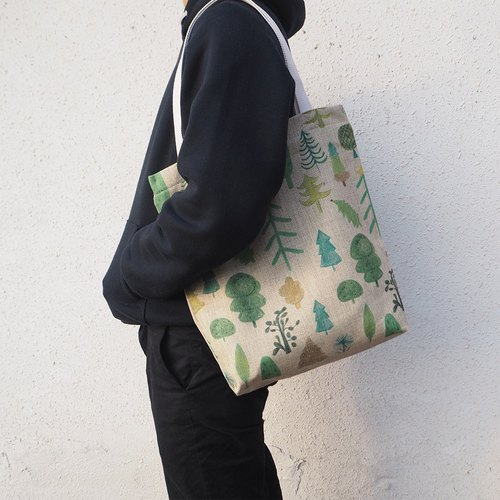 Hand bag / healing tree / plant / forest / backpack / cotton / exchange gifts / shopping bags / totebag / green