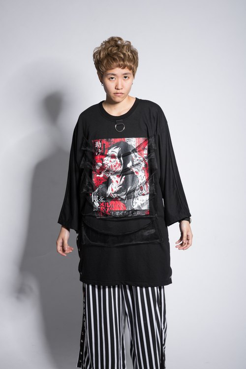 Hemophilia series zombie gauze long-sleeved T-shirt black