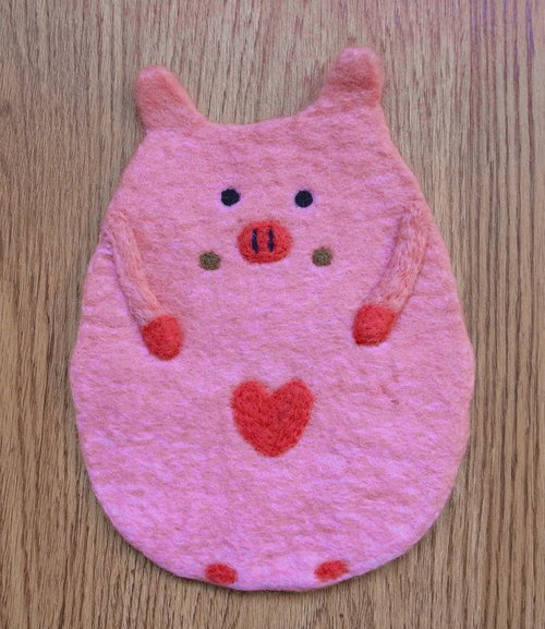 Potholder, Trivet, Pan Coaster, Pot holder, Felt Trivet Animal Pig
