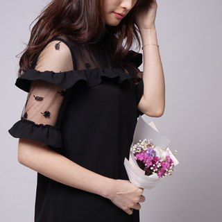 Lace custom series flocking flowers and grass gauze lotus leaf dress (R5007E)