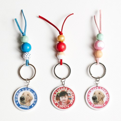 Custom double-sided transfer lover, pet hair child, little baby or family photo colored beaded key ring / mobile phone strap / pet tag. Name birthday or anniversary of Mother's Day can be customized. Valentine's Day wedding was a small gift exchang