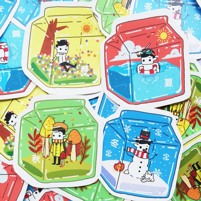 Milk box x spring, summer, autumn and winter | waterproof stickers