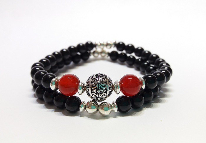 Red often - natural black tourmaline + red agate silver bracelet Hong Kong original design