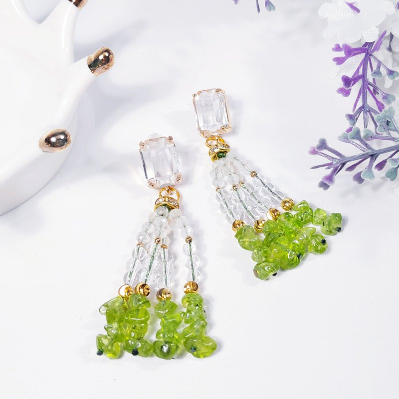 Natural Peridot Blue Halo Moonstone White Crystal Tassel Earrings Energy Fortune Lover Peach