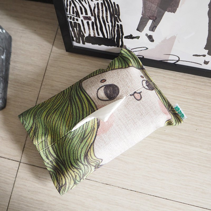 Green hair buns Miss home tissue box cartoon wind cotton and linen removable washable tissue set