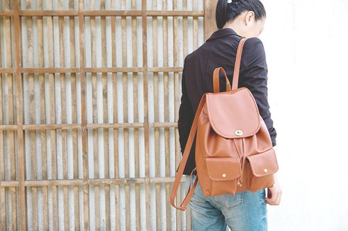 CLM spin button backpack _ camel