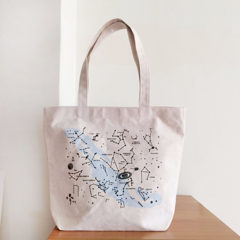 Summer starry canvas bag. Constellation Tote bag. Seal