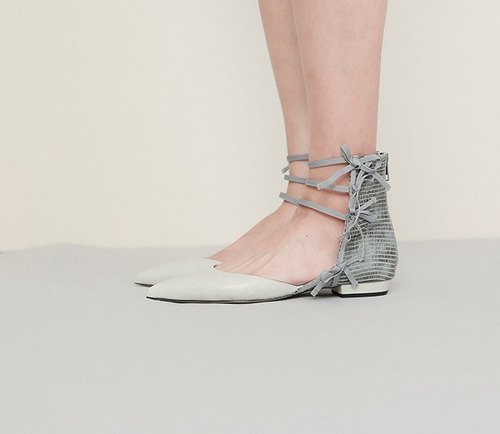 [Exhibition products 出清]Side ribbon decoration leather pointed shoes gray
