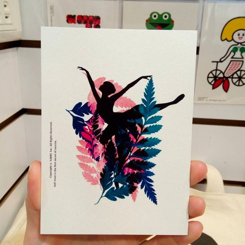 Ballet girl postcard birthday card design coloring illustration picture card universal card art fine arts modern lover love special fun strange weird lovely taiwan yellow fun funny eye-catching tide art sequins flash cool different famous brand foreigners