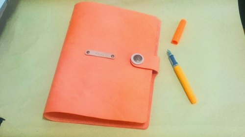 A5 (6 holes) leather notepad - warm orange (standard custom print name)