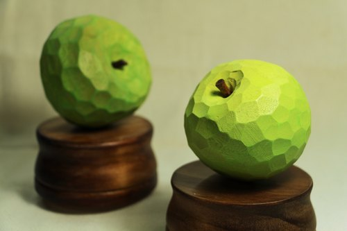 Music Box wooden apple--fresh green apple color--wood--handmade--Handmade