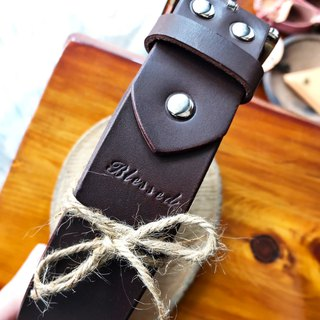 Leather belt bag 35mm free lettering manual bag Italian vegetable tanned leather handmade belt