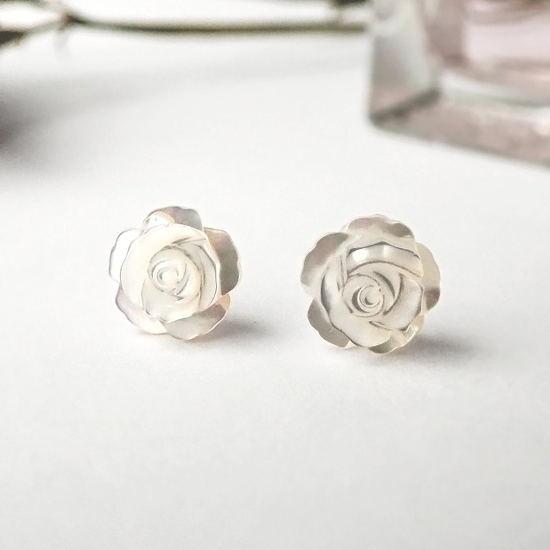 Limited edition one - romantic rose carved shell sterling silver earrings. ivory white