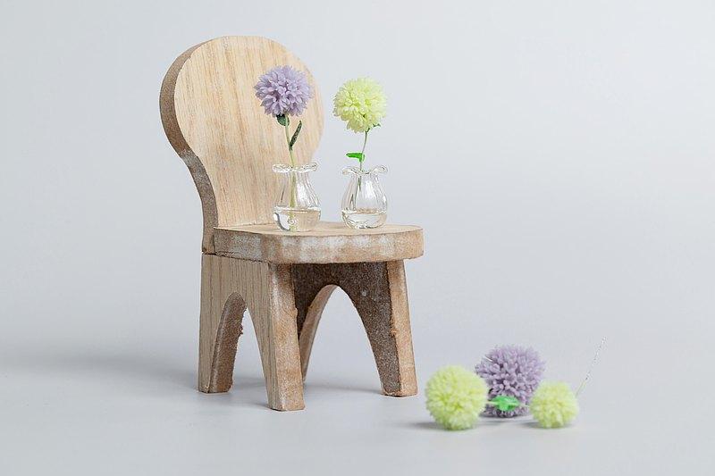 【黏土手作丁香花球】黃綠色/淺紫色丁香花球 迷你玻璃花瓶擺飾