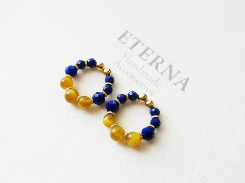 Lapis Lazuli and Golden tiger eye, tiny hoop earrings 夾式耳環