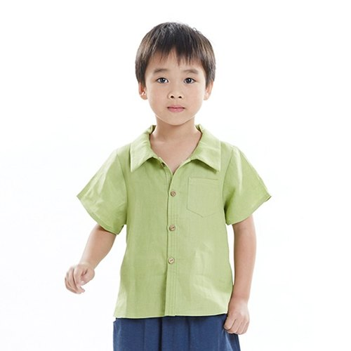 L0227 boys shirt collar short-sleeved shirt - green grass