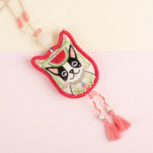 """Loyal dog melon male"" Meng pet Fawn kawaii necklace ~ ~ ~ original design pure handmade cute tassel necklace pendant cute childlike fun fighting dog paparazzi style dog Wu Xinnian dog year of the year mascot gift pure hand embroidery Lucky wealt"