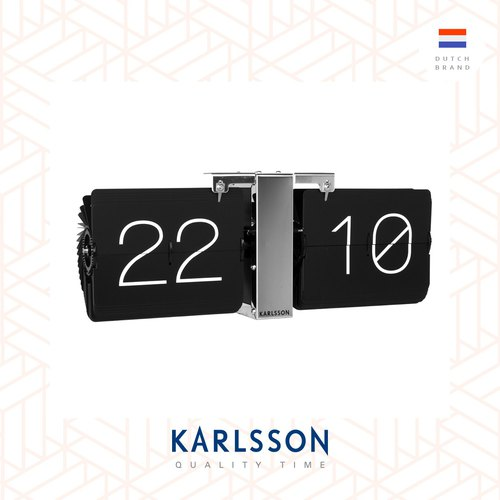 Karlsson, Flip clock No Case black, chrome stand (Table/Hanging)